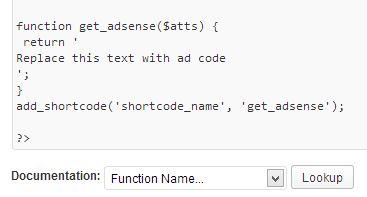 adsense shortcode