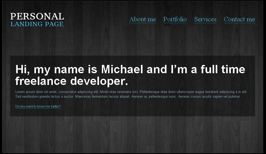 personal landing page